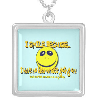 I SMILE BECAUSE... SQUARE PENDANT NECKLACE