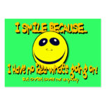 I SMILE BECAUSE... Tract Cards / Large Business Cards (Pack Of 100)