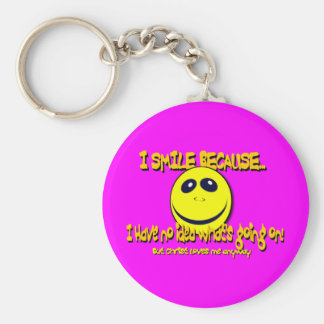 I SMILE BECAUSE...V1 BASIC ROUND BUTTON KEYCHAIN