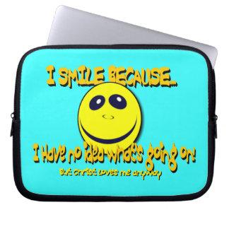 I SMILE BECAUSE V1 LAPTOP COMPUTER SLEEVES
