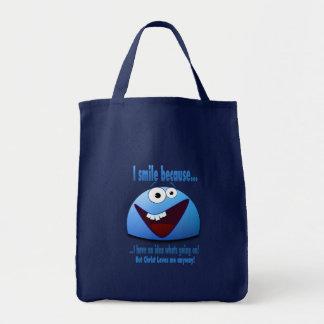 I smile because...V2 Grocery Tote Bag