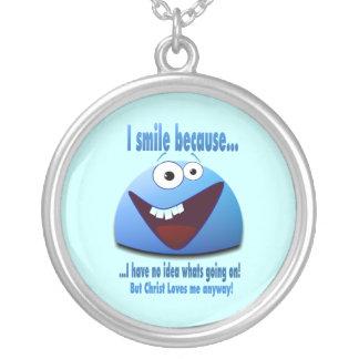 I smile because...V2 Round Pendant Necklace