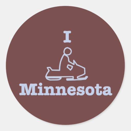 I Snowmobile Minnesota Classic Round Sticker