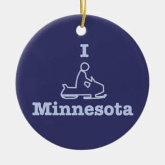 I Snowmobile Minnesota in Blue Christmas Ornaments