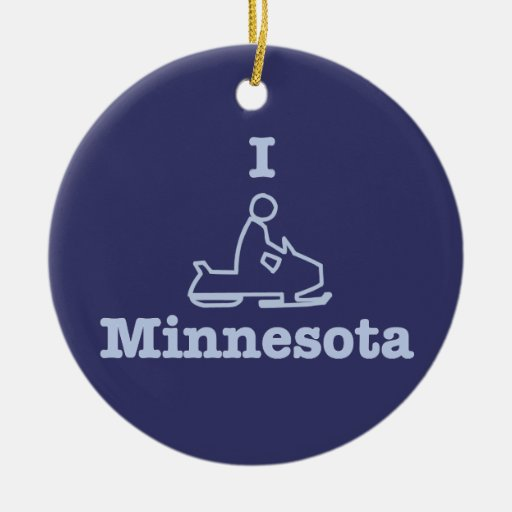 I Snowmobile Minnesota in Blue Double-Sided Ceramic Round Christmas Ornament