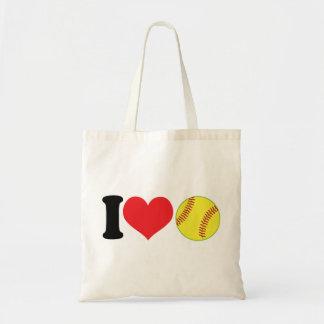 I softball del corazón bolsa tela barata
