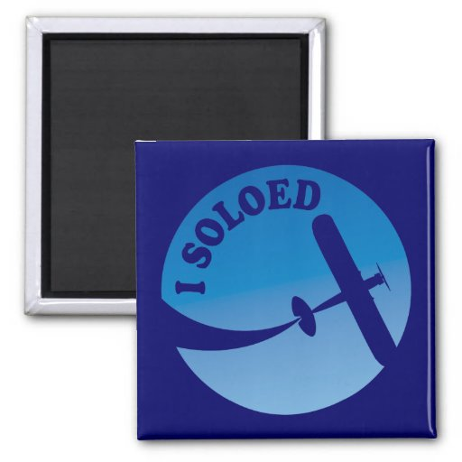 I Soloed & Airplane Graphic 2 Inch Square Magnet