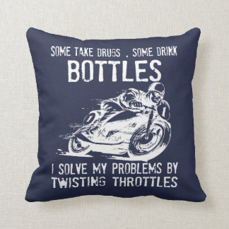 I Solve My Problems By Twisting Throttle Throw Pillow