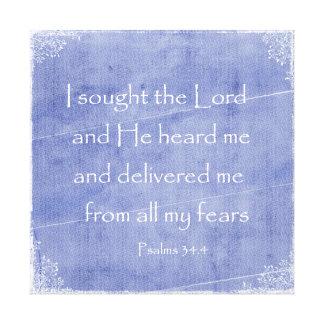 I sought the Lord, He heard me Bible Verse Canvas Print