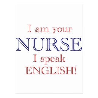I speak English Postcard