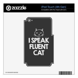 i-speak-fluent-cat-must-love-animals-tees-dark-t-s skins for iPod touch 4G