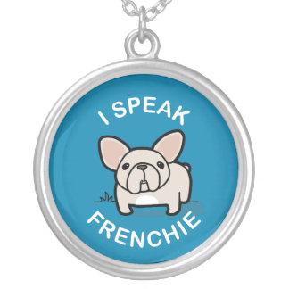 I Speak Frenchie - Blue Round Pendant Necklace