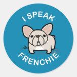 I Speak Frenchie - Blue Round Sticker