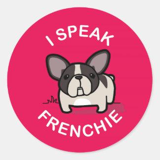 I Speak Frenchie - Pink Round Sticker