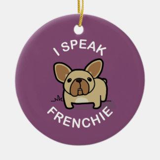 I Speak Frenchie - Purple Double-Sided Ceramic Round Christmas Ornament