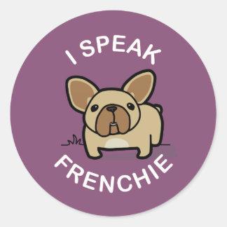 I Speak Frenchie - Purple Round Sticker