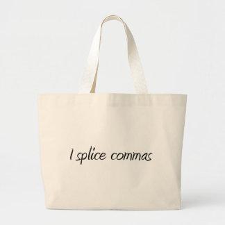 I Splice Commas Tote Bags