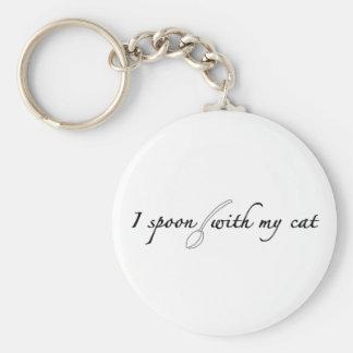 I Spoon With My Cat Keychain