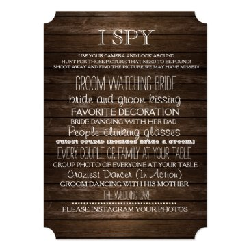 font themed I Spy Wedding Game Wood Rustic Photography Card