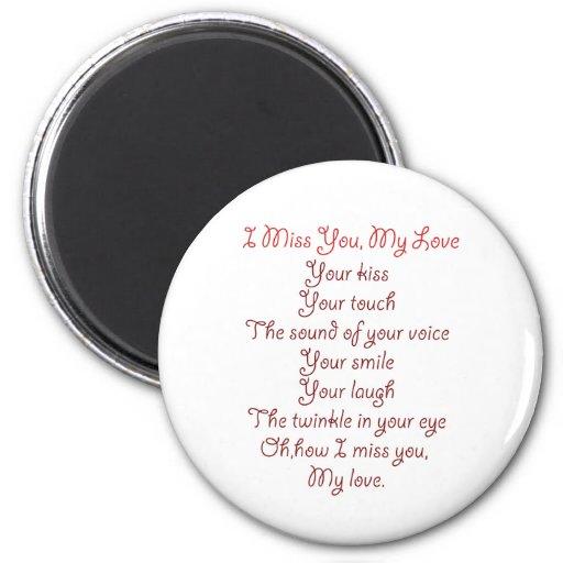 I Srta. You, mi rojo del poema del amor en rojo Imán De Frigorífico