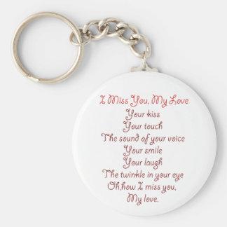 I Srta. You, mi rojo del poema del amor en rojo Llavero Redondo Tipo Pin
