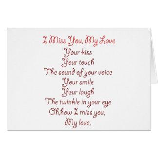 I Srta. You, mi rojo del poema del amor en rojo Tarjeta De Felicitación