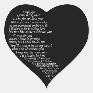 I Srta. You Text por la mitad del corazón Pegatinas Corazon