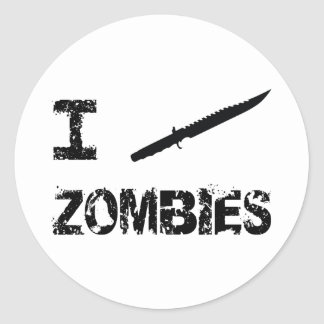 I Stab Zombies Round Stickers