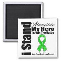 I Stand Alongside My Hero Traumatic Brain Injury 2 Inch Square Magnet