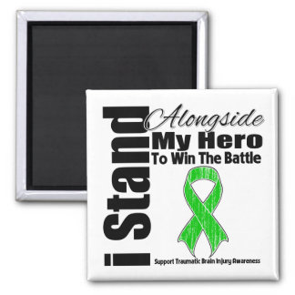 I Stand Alongside My Hero Traumatic Brain Injury 2 Inch Square Magnet