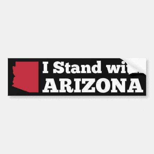 I Stand With Arizona Black Bumper Sticker Car Bumper Sticker