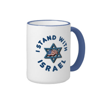 I Stand With Israel American Flag Star of David Mugs