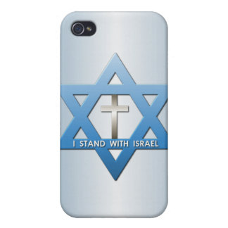 I Stand With Israel Christian Cross Star of David iPhone 4 Case