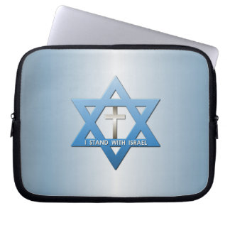 I Stand With Israel Christian Cross Star of David Laptop Computer Sleeves