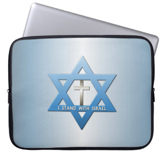 I Stand With Israel Christian Cross Star of David Laptop Sleeve