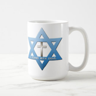 I Stand With Israel Christian Cross Star of David Mugs