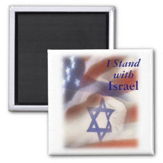 I Stand with Israel Star of David on Flag 2 Inch Square Magnet
