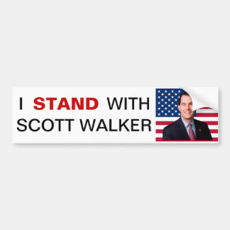 I Stand With Scott Walker Bumper Sticker Car Bumper Sticker