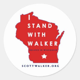 I Stand With Scott Walker Round Stickers