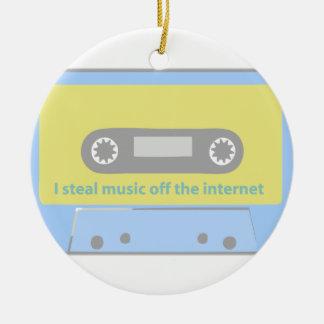 I STEAL MUSIC OFF THE INTERNET CASSETTE CERAMIC ORNAMENT