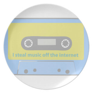 I STEAL MUSIC OFF THE INTERNET CASSETTE PARTY PLATES