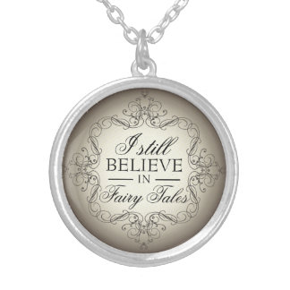 I Still Believe in Fairy Tales Library Love Round Pendant Necklace