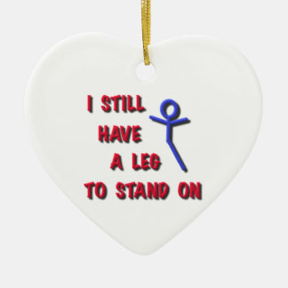 I Still Have a Leg to Stand on, red,blue,stickman Ceramic Ornament