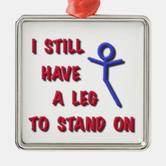 I Still Have a Leg to Stand on, red,blue,stickman Metal Ornament