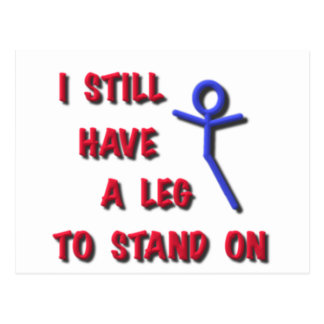 I Still Have a Leg to Stand on, red,blue,stickman Postcard