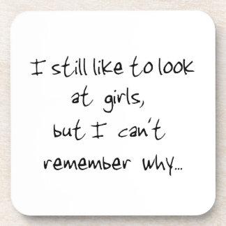 I still like to look at girls-cork coaster