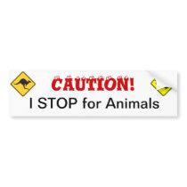 I STOP for Animals Bumper Sticker