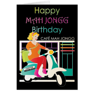 I Stop for Mah Jongg Retro Scooter Greeting Card