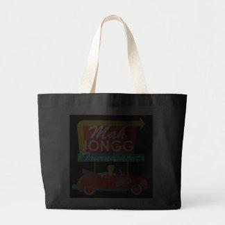 I Stop for Mah Jongg Retro Sign Jumbo Tote Bag