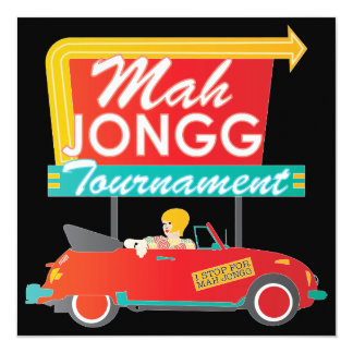 I Stop for Mah Jongg Retro Sign Card
